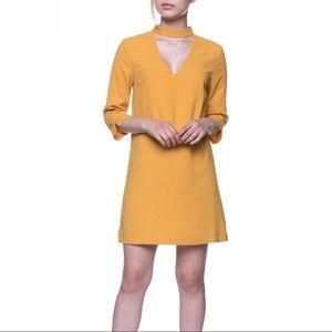 NWT English Factory Mustard Choker Neck Mini Dress